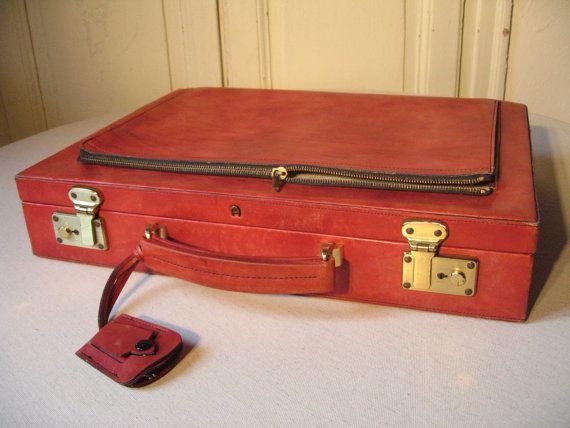 Mallette en cuir Etienne Aigner rouge bordeaux / Bagagerie de luxe /Attaché-case vintage / Porte-documents ordinateur / Sac à main Valisette