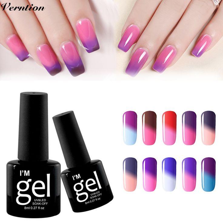 Verntion Thermo Nail Polish Gel Varnishes Soak Off Hot Sale Mood Temperature Change Color LED UV Gel Nail Polish