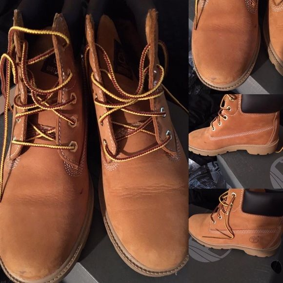 Junior Timberland Boots They have minor spots but can bet removed & scuff mark but in good condition. Box included Timberland Shoes Winter & Rain Boots
