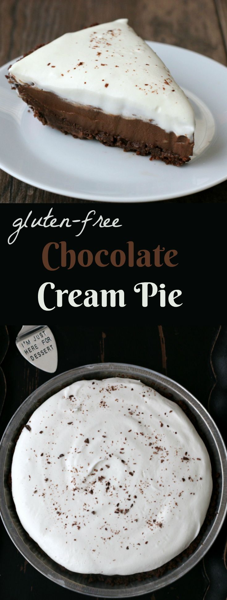 Gluten-free Chocolate Cream Pie Recipe. Perfect for the holidays or anytime!