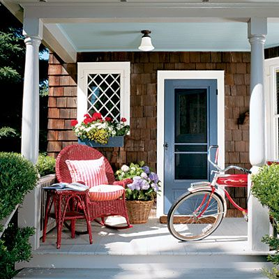 red/white/blue: Idea, Summer Porches, Blue Doors, Red White Blue, Colors, Front Doors, Coastal Living, Screens Doors, Front Porches