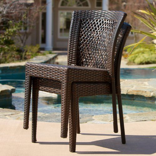 dusk allweather wicker dining chair set of 2 outdoor dining chairs at
