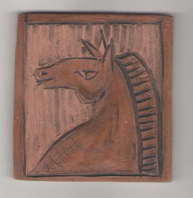 Carved Horse on tile by Bella Odendaal