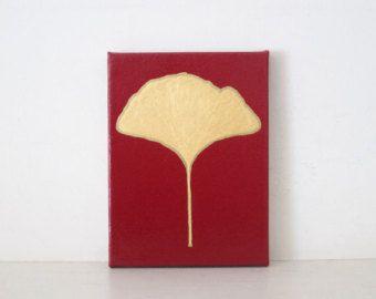 La HOJA del GINKGO - REDUCIDO - oro Ginkgo hoja pintura - decoración - Ginkgo Ginkgo oro de hoja pared arte - oro Ginkgo Decor - Ginkgo rojo impresión