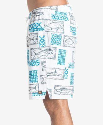 Quiksilver Waterman Men's Hopu Aina Graphic-Print Swim Trunks - White XXL