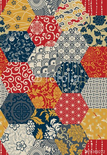 Vecteur : Oriental style seamless vector pattern / motif / patchwork / végétal / floral / multicolore