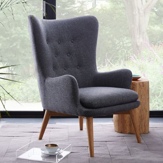Niels Wing Chair, Boucle, Chili