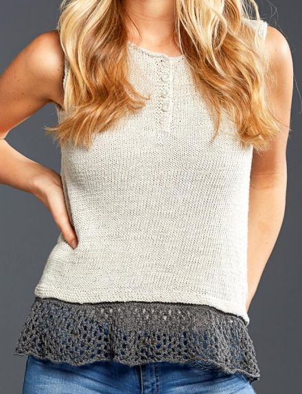 """Free Knitting Pattern for Zephyr Tank - Sleeveless pullover top with pretty ruffled lace hem and buttoned neckline. Bust: 35¼ (39¼, 43¼, 47¾, 51¼)"""". Designed by Amy Gunderson for Universal Yarn."""