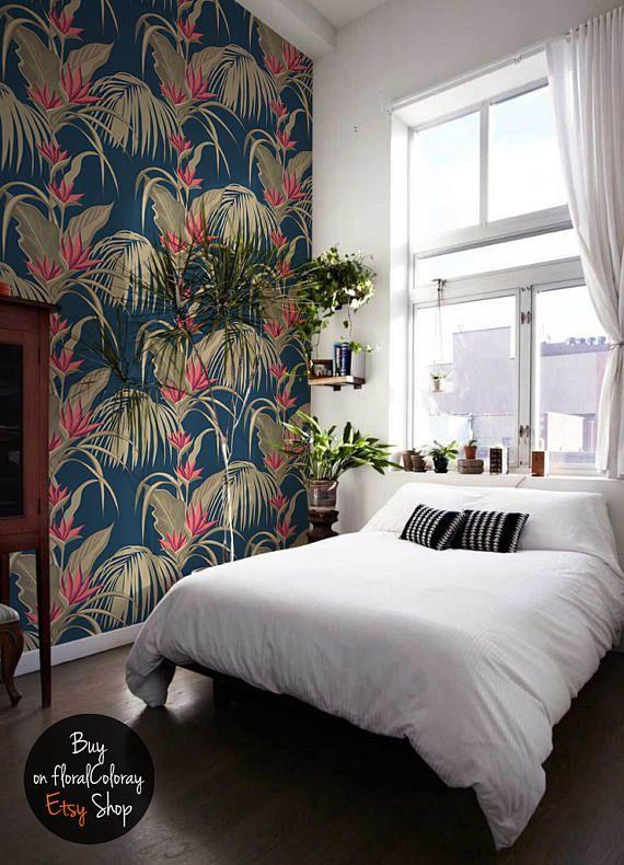 Palme Mit Blumen Wallpaper || Exotic Floral Wall Wandbilder || Peel U0026 Stick  || Tropische Entfernbare Tapete || Leaves Wall Decor # 127