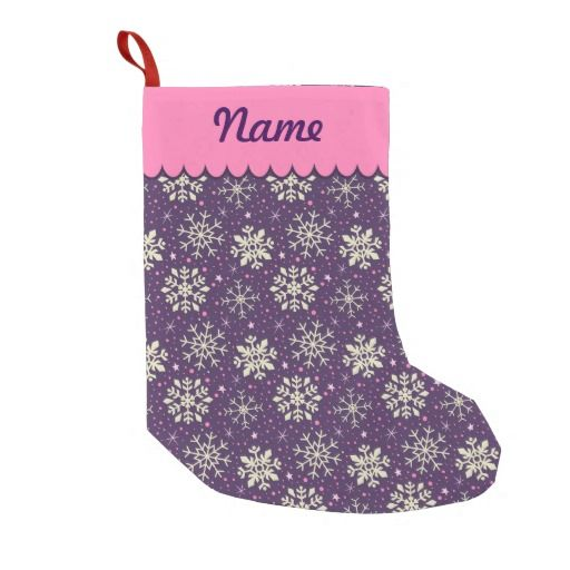 Personalized Christmas Boysenberry Purple & White Snowflake Pattern Stocking. Designed by Kristy Kate www.kristykate.com