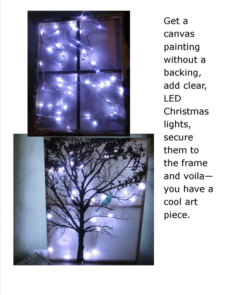 Canvas painting + Christmas lights = Awesome.