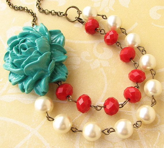 Flower Necklace Bridesmaid Gift Teal Necklace Winter Jewelry Statement Necklace Red Necklace Double Strand Beadwork