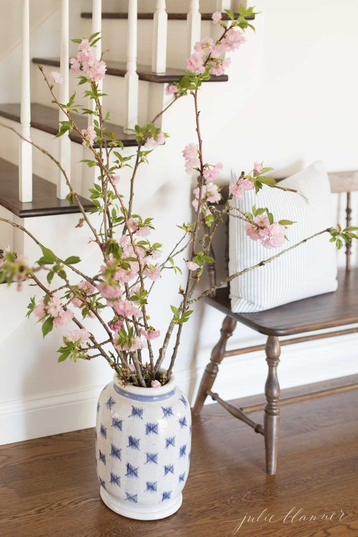 Decorating With Pretty Cherry Blossom Branches Spring Decorating Ideas Spring Springdecor Cherrybl Spring Decor Cherry Blossom Decor Cherry Blossom Branch
