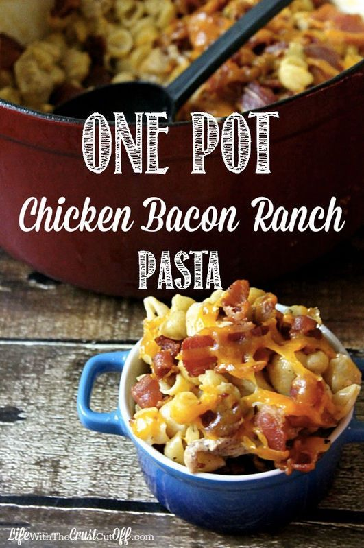 One Pot Chicken Bacon Ranch Pasta - I know what I'm making for dinner!