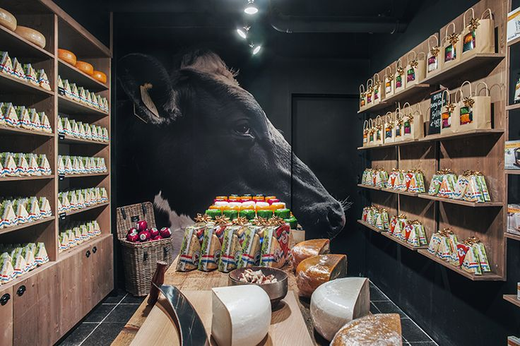 ©studiomfd, store, design, creative store, cheese, amsterdam, old amsterdam, dutch cow, wallpaper, AMSTERDAM CHEESE STORE (www.studiomfd.com)