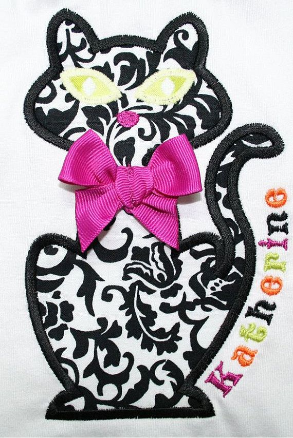 INSTANT DOWNLOAD Black Cat Machine Embroidery Applique Design on Etsy, $4.00