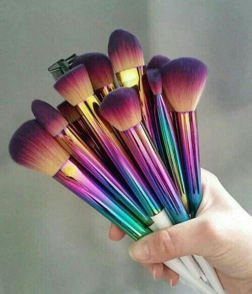 makeup, Brushes, and rainbow image