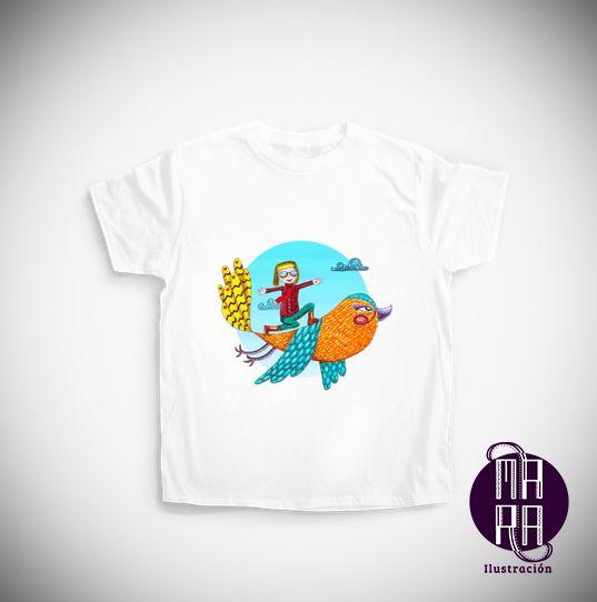 Camiseta Pajarito para niño Colores disponibles: Blanco - Negro  Edades: 7/8 - 12/14  http://camaloon.es/descubre/artistas/mara-ilustracion/creaciones/a-vuelo-de-pajaro/camisetas-personalizadas/camisetas-infantiles-personalizadas/productos