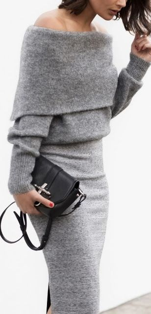 Women's fashion | Off the shoulder grey cashmere sweater with fitting pencil skirt
