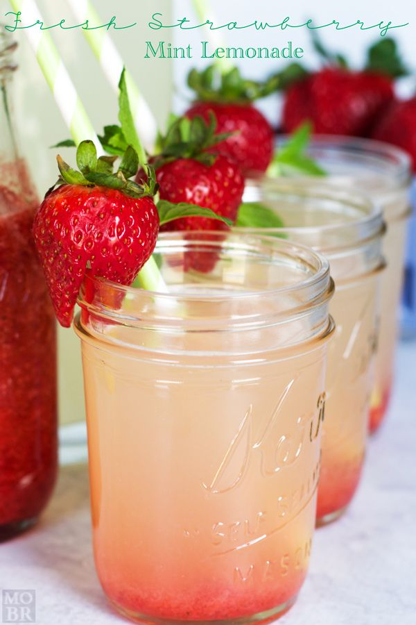 Fresh Strawberry Mint Lemonade. It's the perfect way to freshen up your lemonade for all your summer parties! So easy and the variations are endless.