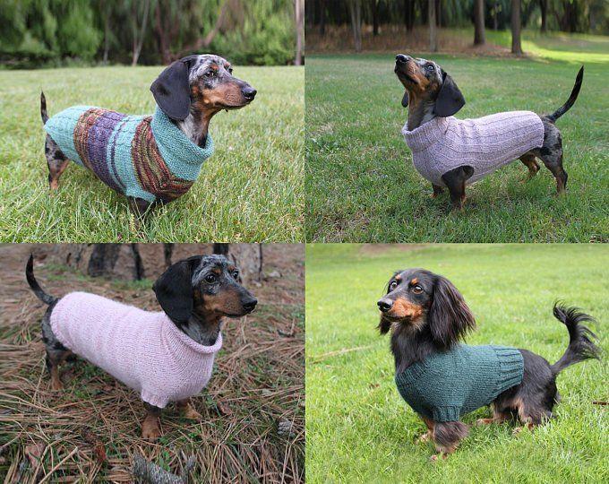 Knitting Pattern Scrap Yarn Cowl Neck Mini Dachshund Dog