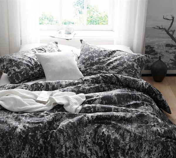 Dark Gray And White King Xl Bedding Comfortable Oversized King Comforter Distraction Unique Design Comforter Sets Duvet Cover Sets Twin Xl Bedding