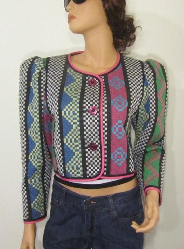 80s Jeanne Marc Cropped Mutton Sleeve Avant Garde Quilted Tapestry Blazer Jacket   eBay #vegan