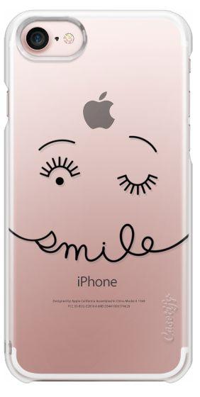 Casetify iPhone 7 Snap Case - Smile - Simple Minimalist Happy - Black Line by Happy Cat Prints
