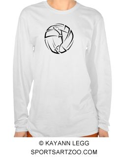 Stylized Female Volleyball Player with Ball Woman Long Sleeve Tshirt by SportsArtZoo #volleyball #female #shirt