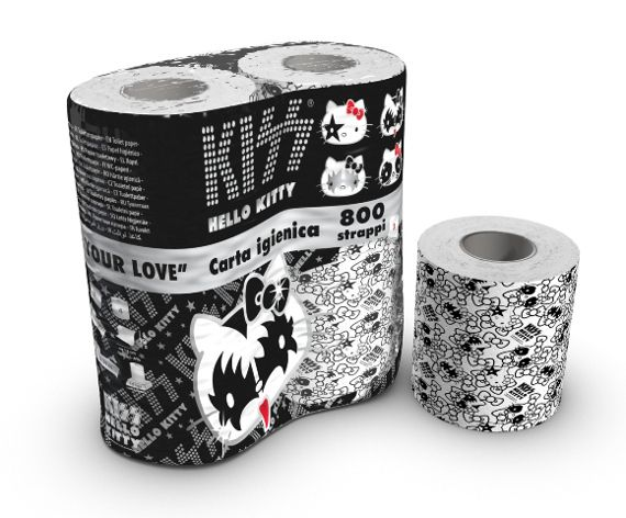 Here's what the product is going to look like: Hello Kitty / Kiss toilet paper (Yes, really. Did you suggest this?)
