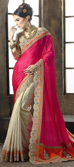 193055 Beige and Brown, Pink and Majenta  color family Embroidered Sarees, Party Wear Sarees, Silk Sarees in Crushed Silk, Jacquard fabric with Border, Cut Dana, Machine Embroidery work   with matching unstitched blouse.