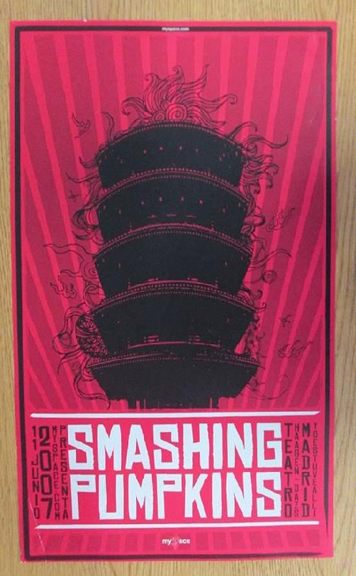 Original concert poster for The Smashing Pumpkins at Teatro Calderon in Madrid, Spain in 2007. Handling marks, and corner bend.