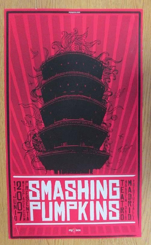 Original concert poster for The Smashing Pumpkins at Teatro Calderon in Madrid, Spain in 2007. Handling marks, and corner bend.