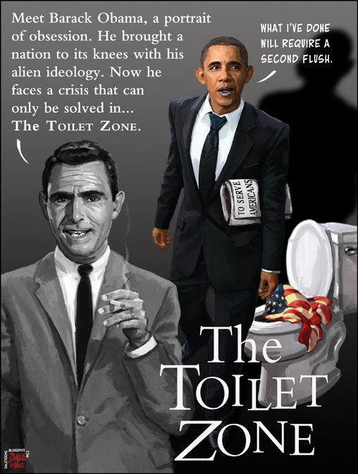 OBAMA CARTOONS: Conservative Political Humor: Obama in the Toilet Zone
