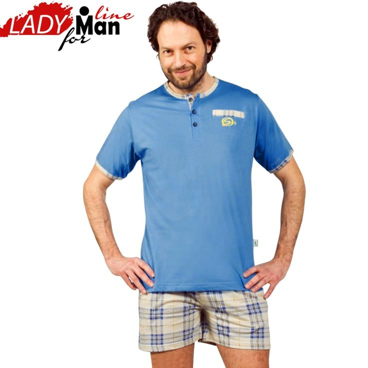 Poze Pijamale Barbati Maneca Scurta Pantalon Scurt, Material Bumbac 100%, Culoare Albastru Pastel, Model 'Blue Elegant Senior', Brand Contro Senso, Pijamale Barbatesti Import Italia