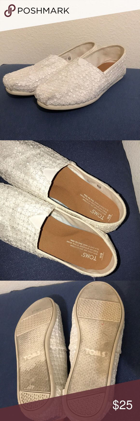 White Lace Toms! Size 9 white lace Toms. Worn once! They were too big on me. Toms Shoes Flats & Loafers