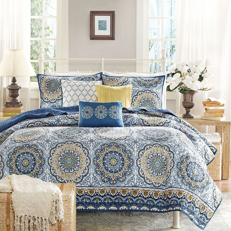 King size 6-Piece Quilt Coverlet Set in Blue Floral Pattern stylish bedroom