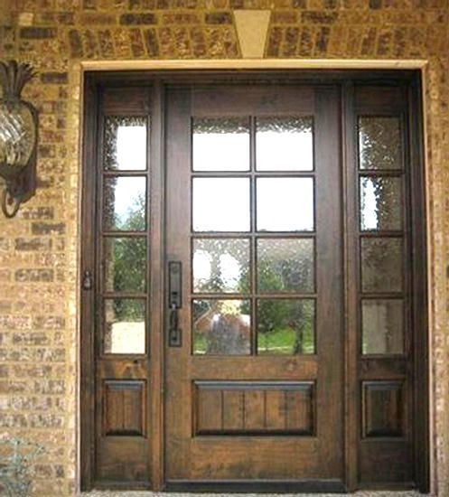 Love this door, stain color and textured glass.  Wouldn't need the side lights though.  Craftsman Exterior TDL Mahogany Wood Front Entry Door Style