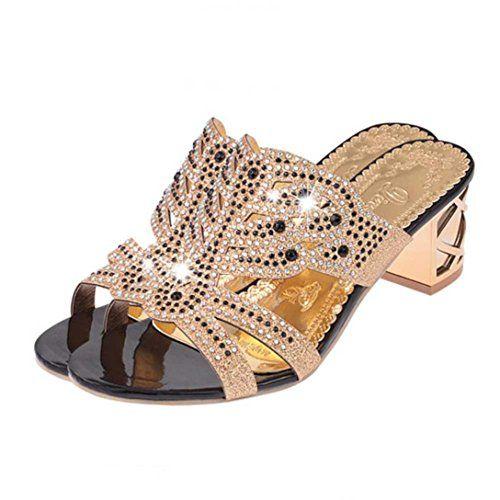 Strass Sandales Étéfemmes Pantoufles Mode Femme La À Bout N8wPOXn0k