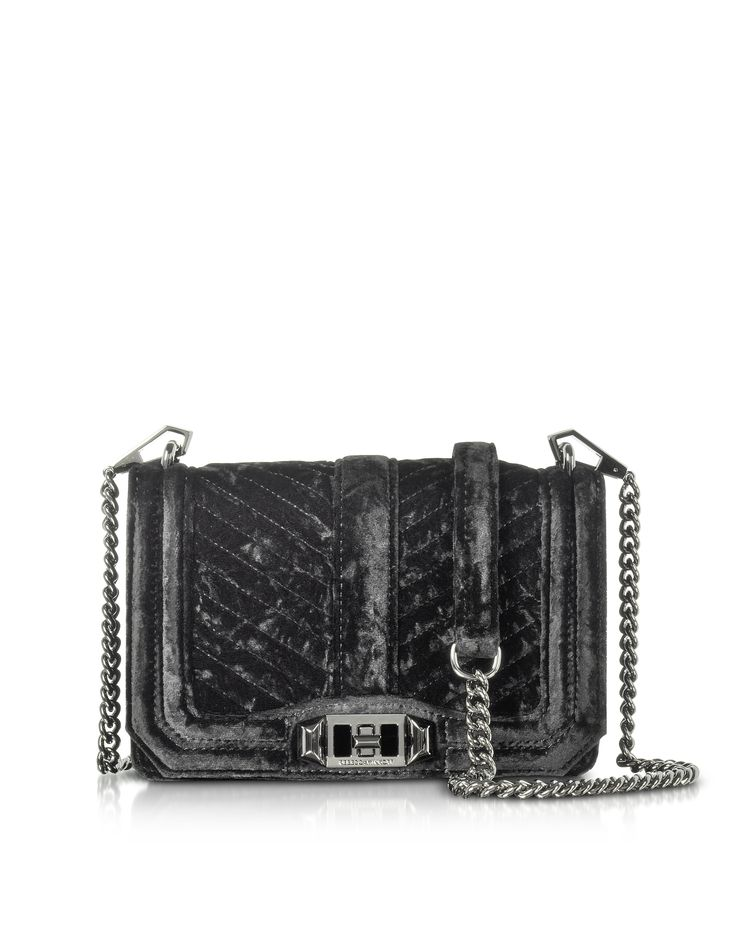 REBECCA MINKOFF CHEVRON QUILTED SMALL VELVET LOVE CROSSBODY BAG. #rebeccaminkoff #bags #shoulder bags #velvet #crossbody #