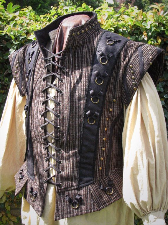 Medieval Dude's Black and Textured Stripe Doublet by CurvyWench, $185.00