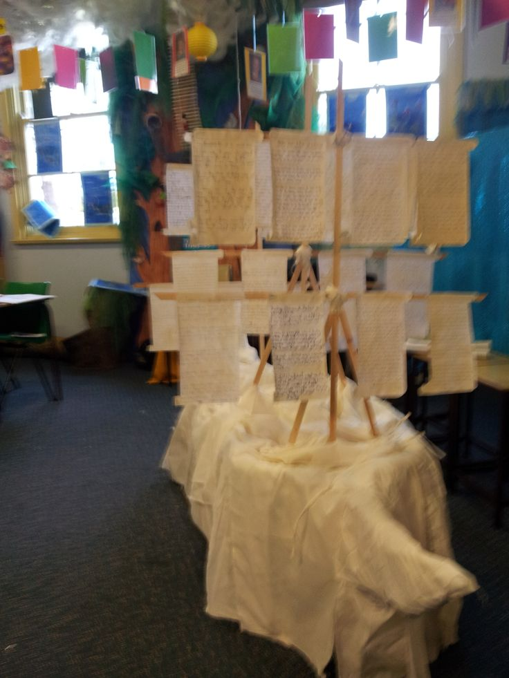My Year 4 class built this 'Ghost Ship' from the first fleet. The sails are their written accounts as child convicts on board the ship from England to Australia.