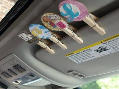 Road trip clips: One clip for each kid.... If they are sweet, clip stays up, if they are not, clip comes down. Everyone with a clip on the visor gets a treat at the next stop :-) love this idea!!! Great idea for long car trips this summer!