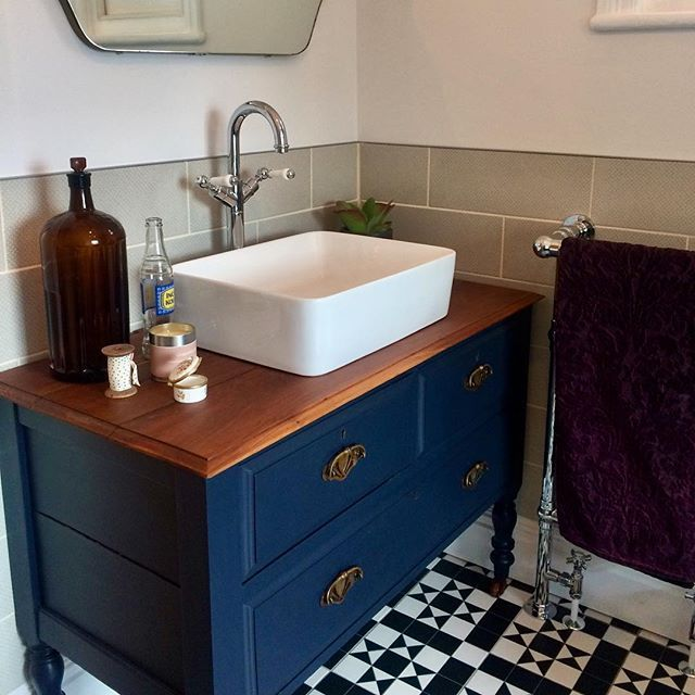 Bathroom Vanity Unit Monochrome Floor Tiles Blue Vanity Unit Upcycled Vanity Unit Vintage Mirror Towel R Bathroom Vanity Units Vanity Units Bathroom Units