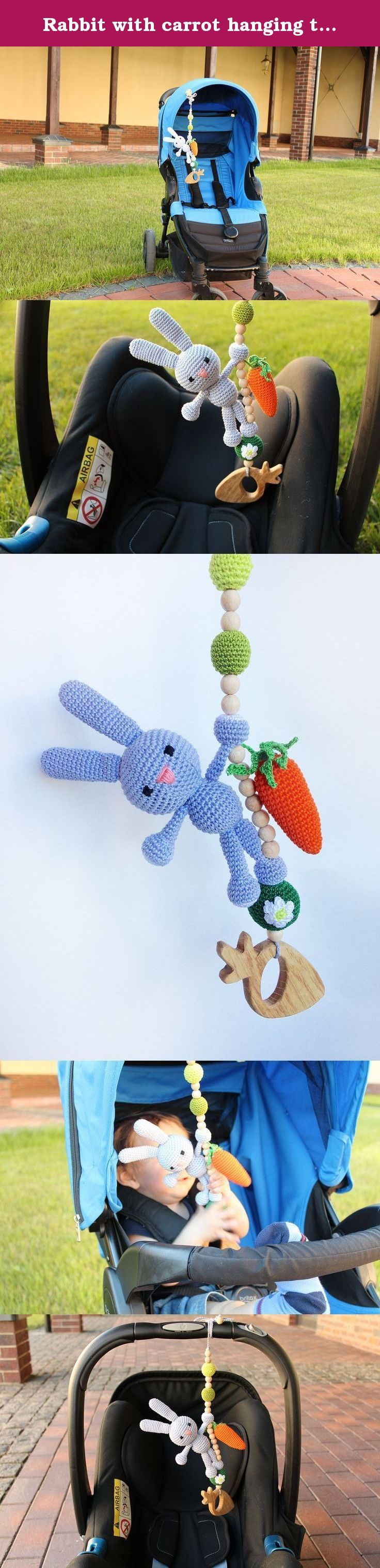 Rabbit with carrot hanging toy, Car seat toy, Pram toy