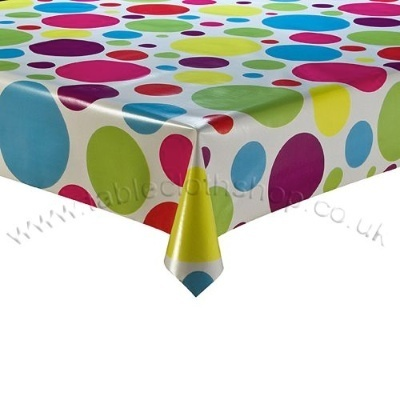 Multi Spot Vinyl Table Cover to protect the table and the kids!