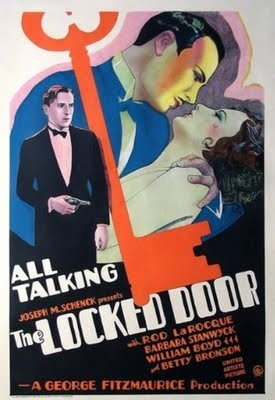 Pre- Code Dip: The Locked Door (1929)  The scene opens with Frank Devereaux (Rod La Rocque), the son of a wealthy businessman, taking Ann Carter (Barbara Stanwyck), his father's secretary, to a floating bar for a date. Among the witty cinematography we discover that the public forum is full of drunken patrons. Devereaux has reserved private dining room and though things seem innocent at first, they turn sinister quickly.