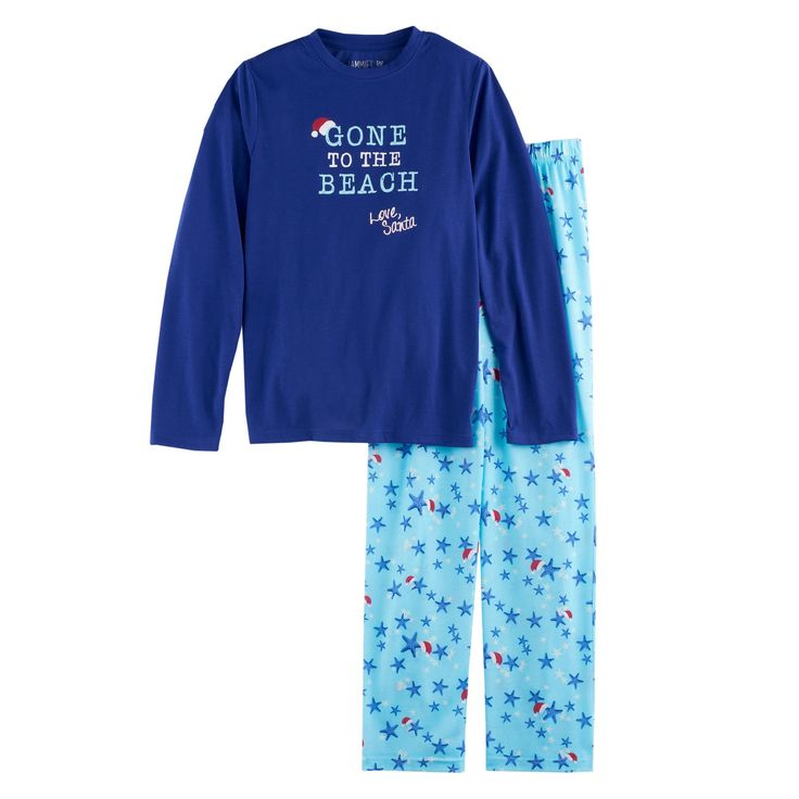"Boys 4-20 Jammies For Your Families ""Gone to the Beach Love, Santa"" Top & Starfish Pattern Bottoms Pajama Set, Size: 6, Turquoise/Blue (Turq/Aqua)"
