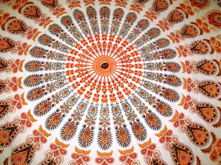 Multi Color Mandala Tapestries Twin Tapestry Indian Cotton Boho Bedding Wall Art #Handmade