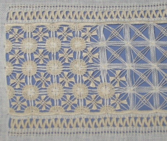 drawn thread sampler band 29 ~ A work in progress. This band is from a German sampler pictured in 'Samplers from the V&A'